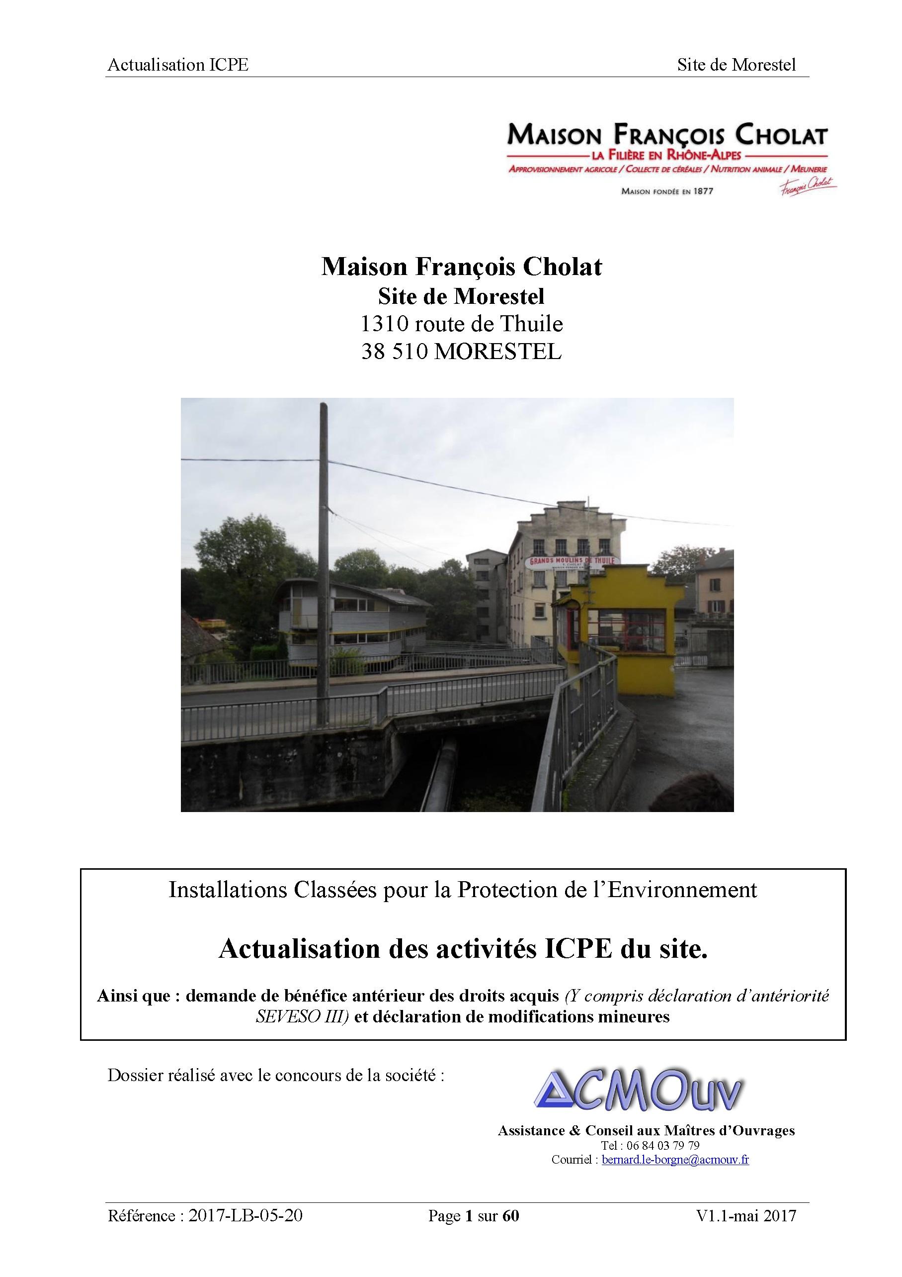 ICPE dossier récapitulatif